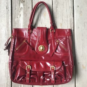 Large candy red leather satchel/tote—Steve Madden